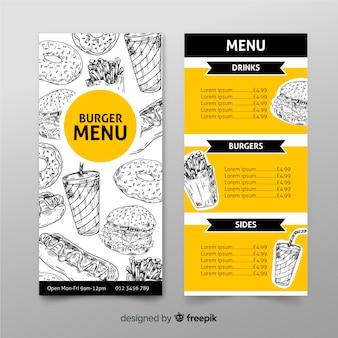 Disegnato a mano del modello del menu dell'hamburger del ristorante