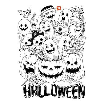 Disegnato a mano del simpatico doodle halloween cartoon.