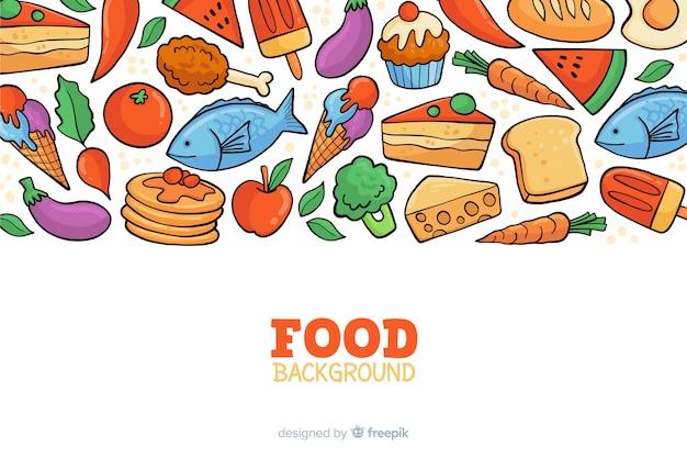 Disegnato a mano delizioso cibo sfondo