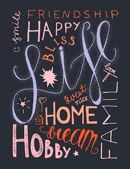 Disegnato a mano dell'annata lettering composizione hipster con parole sulla vita, successo e sogno
