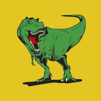 Disegnato a mano della mascotte del dinosauro