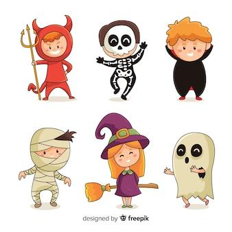 Disegnato a mano della raccolta del bambino dei costumi di halloween