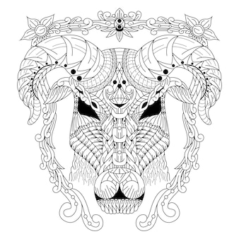 Disegnato a mano della testa di capra in stile zentangle