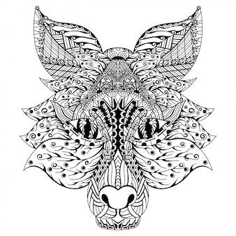 Disegnato a mano della testa di volpe in stile zentangle