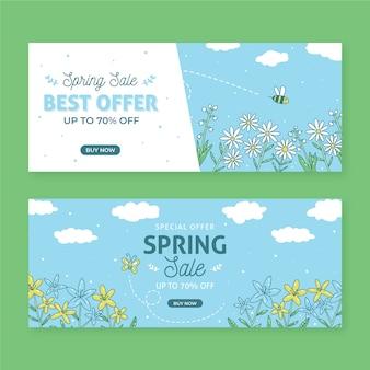 Disegnato a mano delle insegne di vendita della primavera
