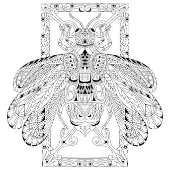 Disegnato a mano di ape in stile zentangle