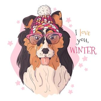 Disegnato a mano di collie dog