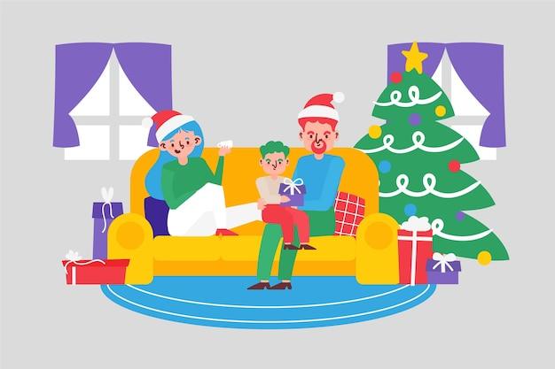 Disegnato a mano di concetto della scena familiare di natale