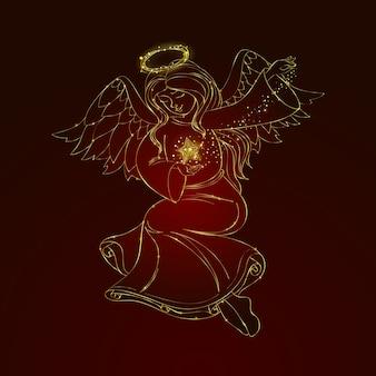 Disegnato a mano di concetto di angelo di natale