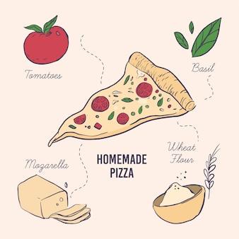 Disegnato a mano di deliziosa ricetta