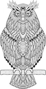 Disegnato a mano di groviglio di zen del barbagianni carino doodle