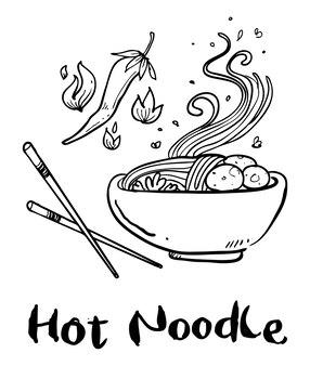 Disegnato a mano di noodle
