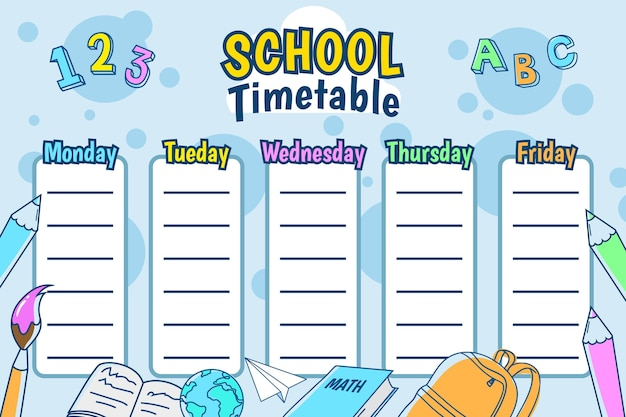 Disegnato a mano di nuovo all'orario scolastico