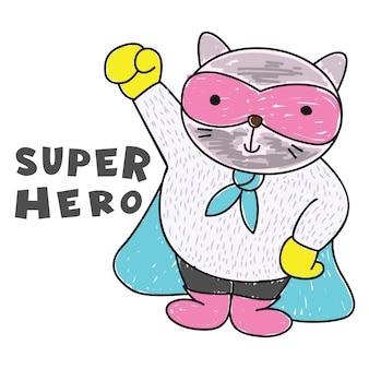 Disegnato a mano di supereroe carino gatto