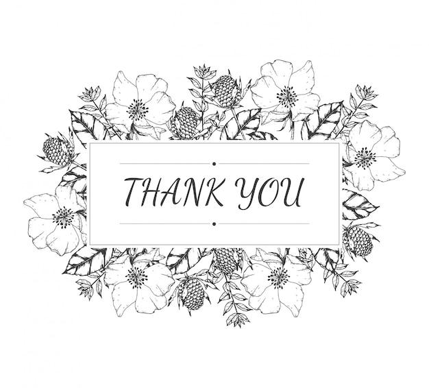 Disegnato a mano di thank you card floral