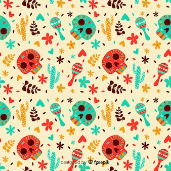 Disegnato a mano dia de muertos pattern