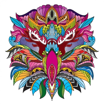 Disegnato a mano doodle zentangle eagle testa illustrazione vettoriale.