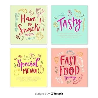 Disegnato a mano e lettering collezione di carte di cibo