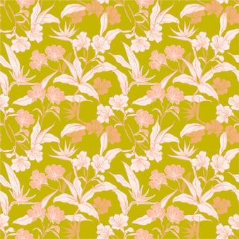 Disegnato a mano elegante motivo di foglie e fiori