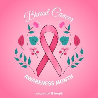 Disegnato a mano evento di consapevolezza del cancro al seno