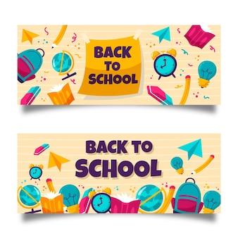 Disegnato a mano indietro a banner scolastici