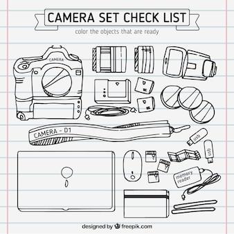 Disegnato a mano insieme macchina fotografica
