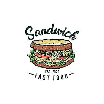 Disegnato a mano logo sandwich