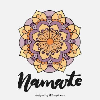Disegnato a mano mandala namaste background