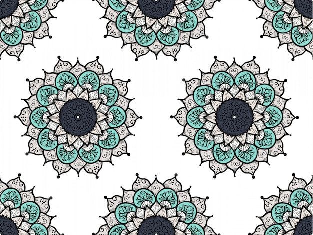 Disegnato a mano mandala seamless pattern