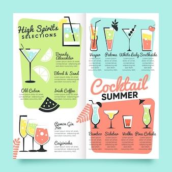 Disegnato a mano modello del menu del cocktail