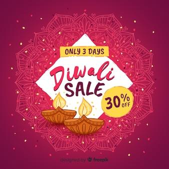 Disegnato a mano moderna composizione di vendita di diwali