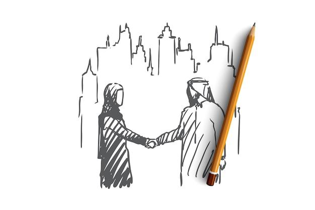 Disegnato a mano musulmano uomo e donna che agitano le mani concetto schizzo