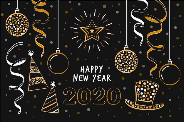 Disegnato a mano nuovo anno 2020