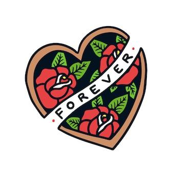 Disegnato a mano per sempre segno sulla forma del cuore con l'illustrazione del tatuaggio della vecchia scuola delle rose