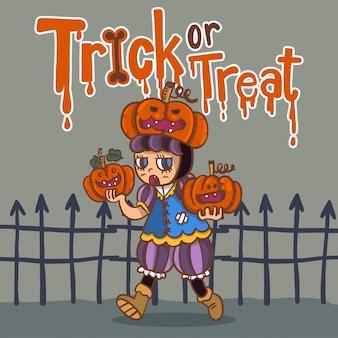 Disegnato a mano personaggio dei cartoni animati di halloween
