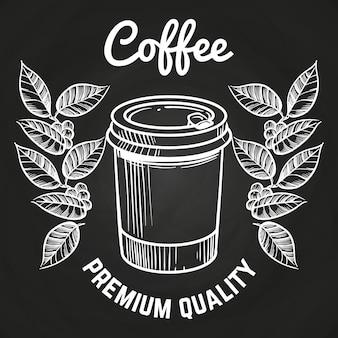 Disegnato a mano portare via tazza di caffè e caffè