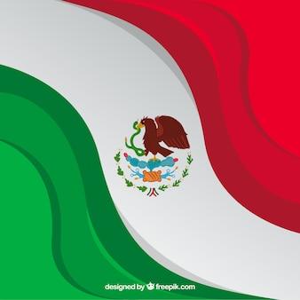 Disegnato a mano sfondo bandiera messicana