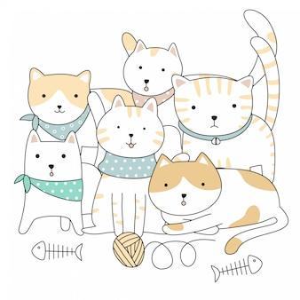 Disegnato a mano simpatici animali gatti cartoon
