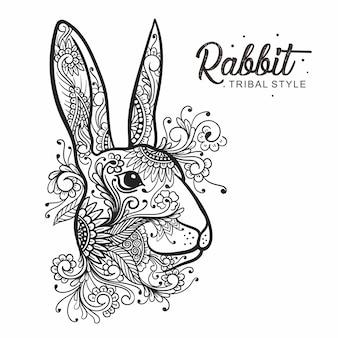 Disegnato a mano stile tribale testa di coniglio