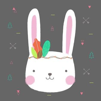 Disegnato a mano sveglio del fumetto del coniglio per progettazione della cartolina d'auguri.