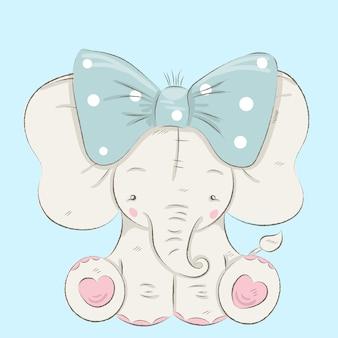 Disegnato a mano sveglio del fumetto dell'elefante