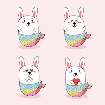 Disegnato a mano sveglio del fumetto della sirena del coniglio