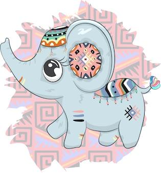 Disegnato a mano sveglio del fumetto di boho dell'elefante del bambino