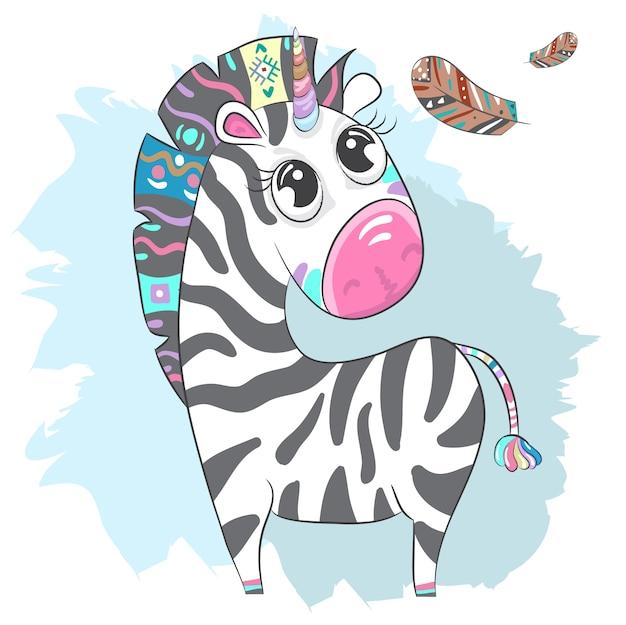 Disegnato a mano sveglio del fumetto di boho della zebra