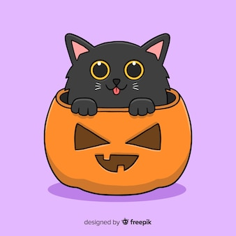 Disegnato a mano sveglio del gattino nero halloween