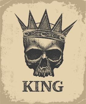 Disegnato a mano teschio re che indossa la corona