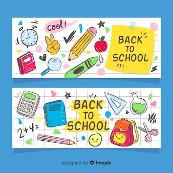 Disegnato a mano torna a banner di scuola