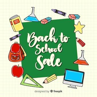 Disegnato a mano torna a sfondo delle vendite della scuola