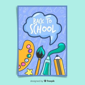 Disegnato a mano torna al modello di carta di scuola