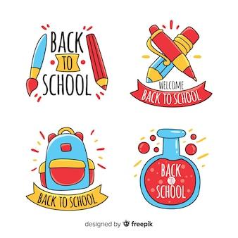Disegnato a mano torna alla collezione di badge scuola